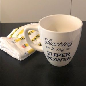 Threshold coffee mug w tea towel, teaching is 16oz
